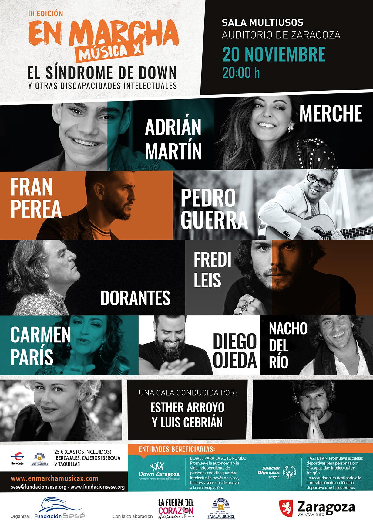 Merche, Pedro Guerra y Fran Perea cantarán en Zaragoza por la discapacidad intelectual en la tercera gala solidaria de la Fundación Sesé