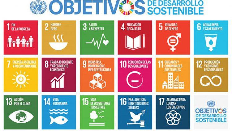 Cartel con los logos de los Objetivos de desarrollo sostenible